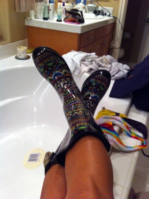 Rainboots, Bikinis & My Bathtub...awkward photo? Maybe.