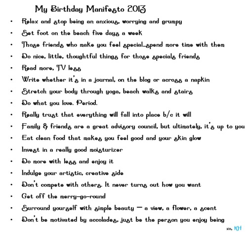 My 2013 Birthday Manifesto