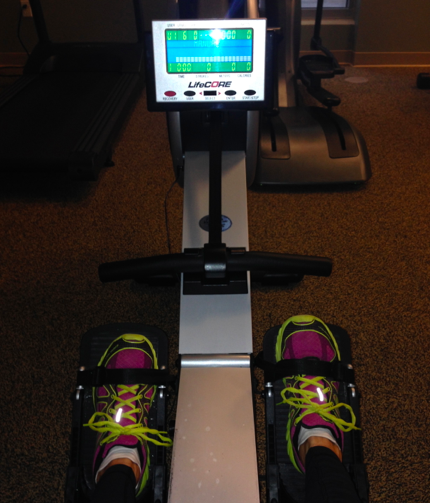 Winging it on the rowing machine!