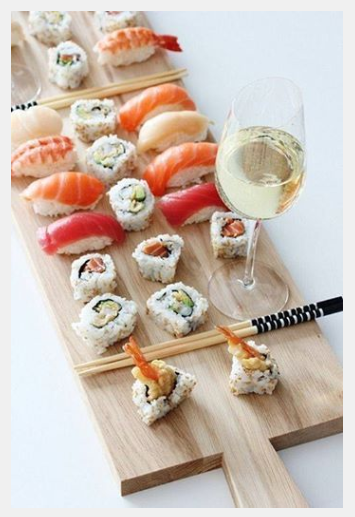 Sushi + an Ice Cold Glass of Wine
