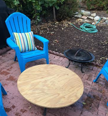 We make tables out of old fire pits…classy