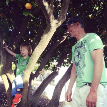 We put kids in our orange tree - Jesse is fearless just like Uncle M